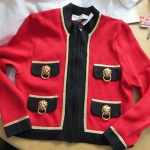 ST JOHN COLLECTION Red Santana Knit Jacket Gold Li